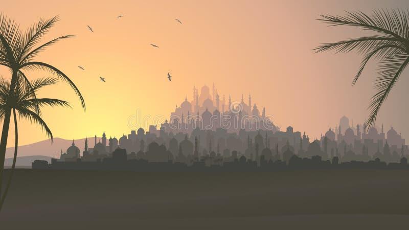 Horisontalillustration av den stora arabiska staden på solnedgången. royaltyfri illustrationer