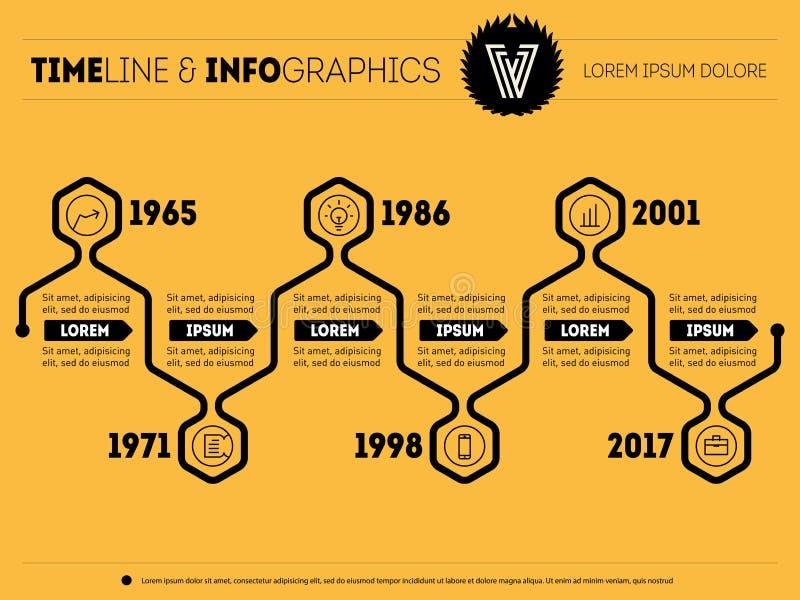 HorisontalInfographic timeline Vektorrengöringsdukmall för gåva stock illustrationer