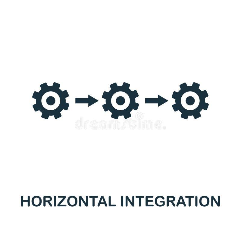Horisontalintegrationssymbol Monokrom stildesign från bransch 4 0 symbolssamling UI och UX E royaltyfri illustrationer