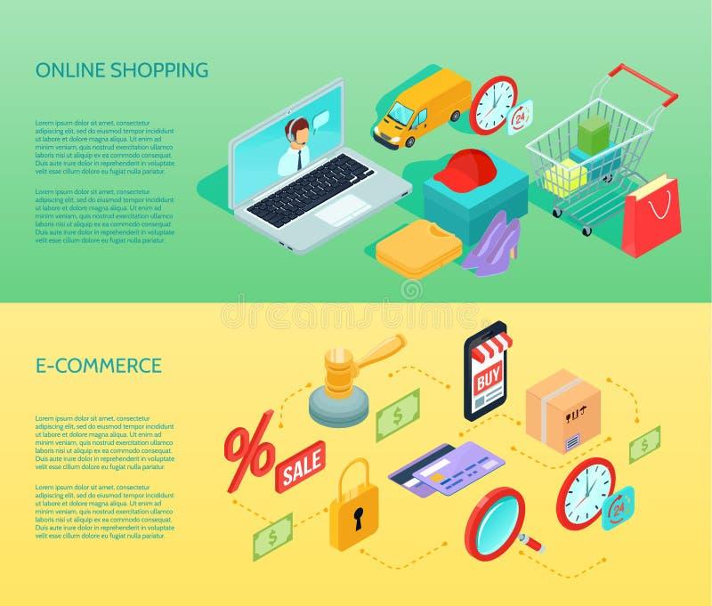 Horisontalisometriskt för shoppingEcommercebaner royaltyfri illustrationer
