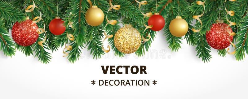 Horisontaljulbaner med girlanden för granträd, hängande bollar och band vektor illustrationer