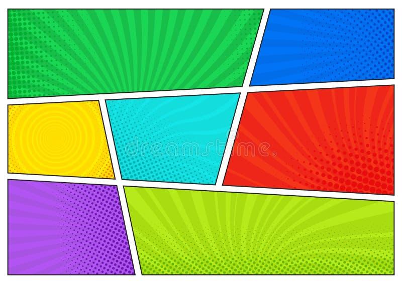 Horisontalkomikerbakgrund Ljus mall med celler, halvtoneffekter och strålar Färgrik bakgrund för vektor i pop-konst stock illustrationer