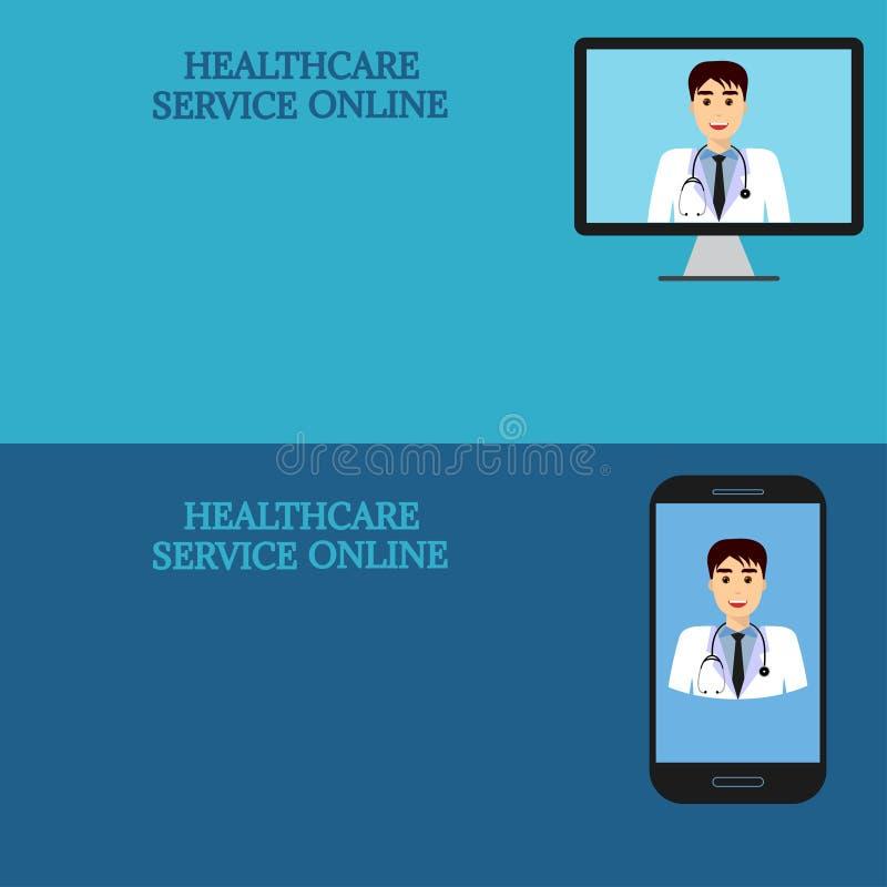 Horisontalmedicinska baner, telemedicine 2 stock illustrationer