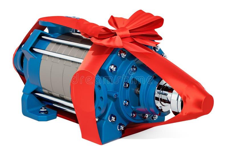 Horisontalmultistage centrifugal pump med pilbågen och bandet, gåva stock illustrationer