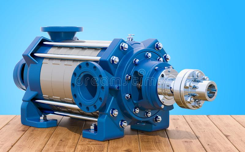 Horisontalmultistage centrifugal pump på trätabellen, 3D r royaltyfri illustrationer