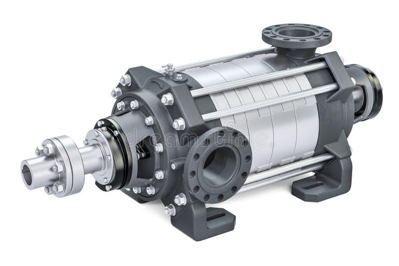 Horisontalmultistage centrifugal pump, tolkning 3D stock illustrationer