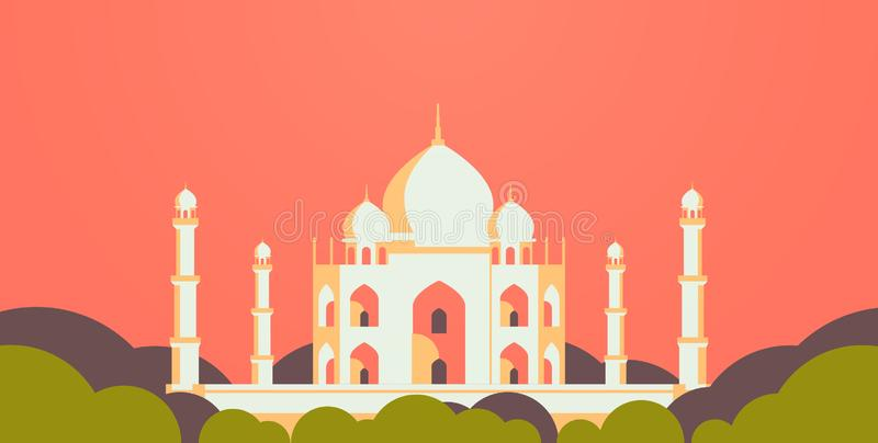 Horisontalmuslimsk lägenhet för religion för cityscapemoskébyggnad royaltyfri illustrationer
