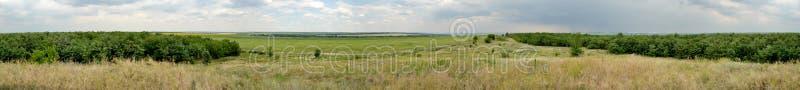 Horisontalpanorama av stäppen av Ukraina royaltyfri fotografi