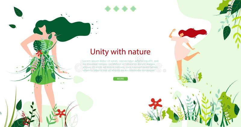 Horisontalplan Banne enhet med naturen varje dag vektor illustrationer