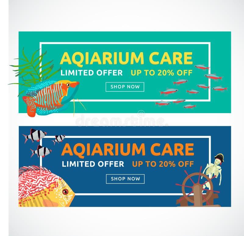 Horisontalplana akvariumbaner med köpandeknappen Fiskvektorillustration arkivfoto