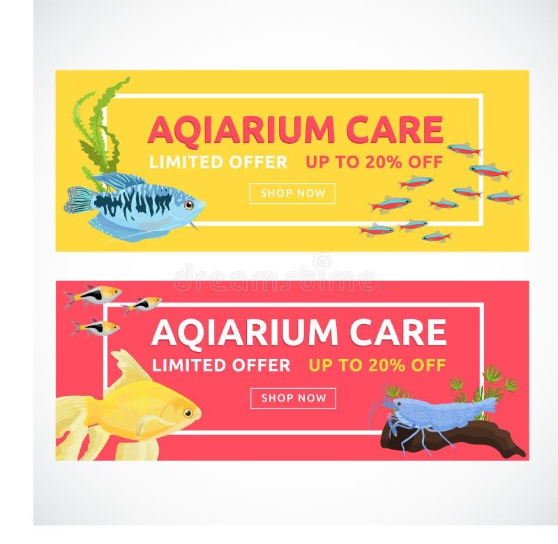 Horisontalplana akvariumbaner med köpandeknappen Fiskvektorillustration fotografering för bildbyråer