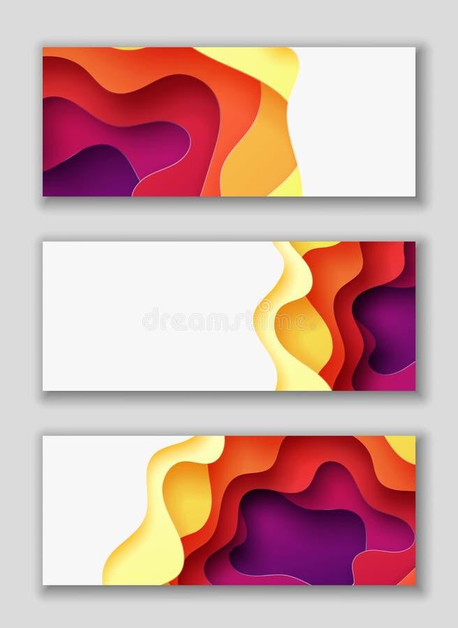 Horisontalrektangelreklamblad med bakgrund för abstrakt begrepp 3D med papperssnittet formar Vektordesignorientering royaltyfri illustrationer