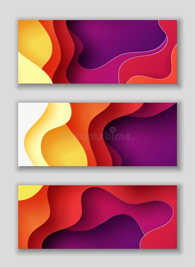 Horisontalrektangelreklamblad med bakgrund för abstrakt begrepp 3D med papperssnittet formar Vektordesignorientering vektor illustrationer