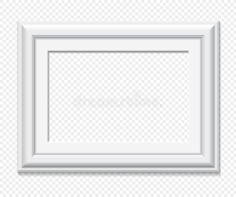 Horisontalrektangulär vit vektorram vektor illustrationer