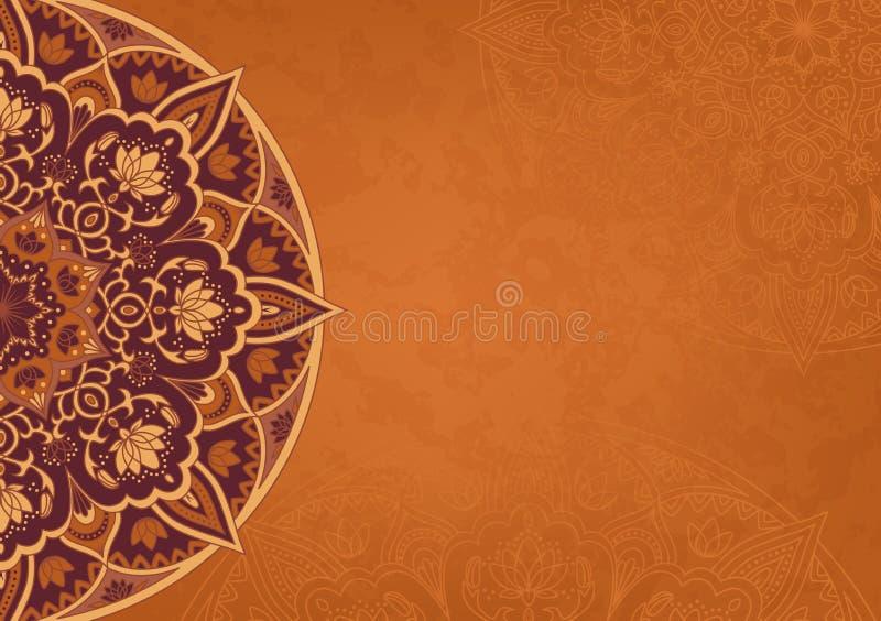 Horisontalretro bakgrund med den kulöra mandalaen royaltyfri illustrationer