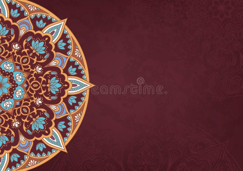 Horisontalretro bakgrund med kulör mandala 2 stock illustrationer