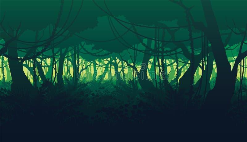 Horisontalsömlös bakgrund av landskapet med den djupa djungelskogen vektor illustrationer