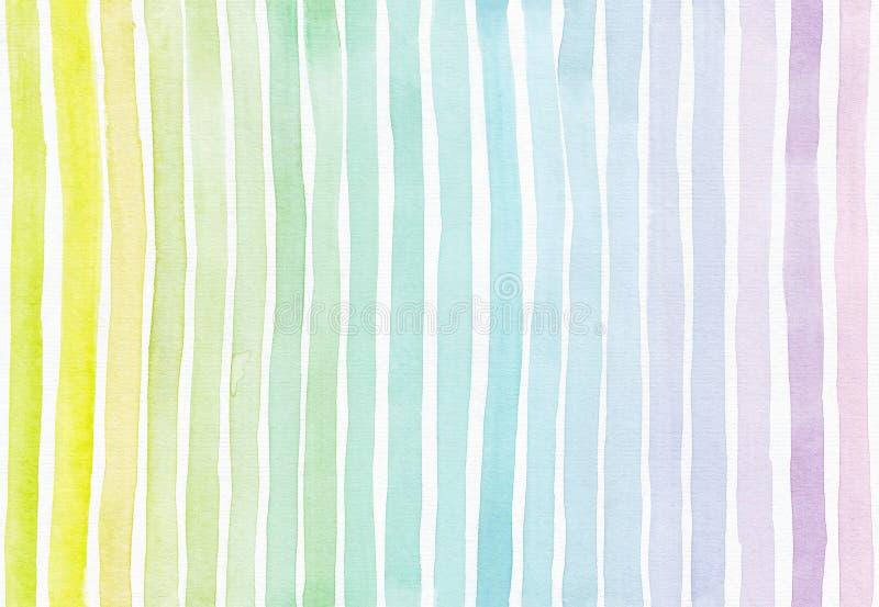 Horisontalsömlös bakgrund med handdrawn färgpulver med hand dragen bandlutningtextur, imperfekt, kornigt som är ljus, på vit wat stock illustrationer