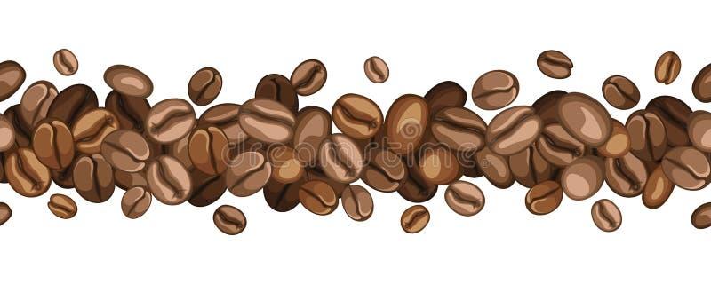 Horisontalsömlös bakgrund med kaffebönor.  royaltyfri illustrationer