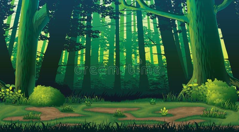 Horisontalsömlös bakgrund med skogen stock illustrationer