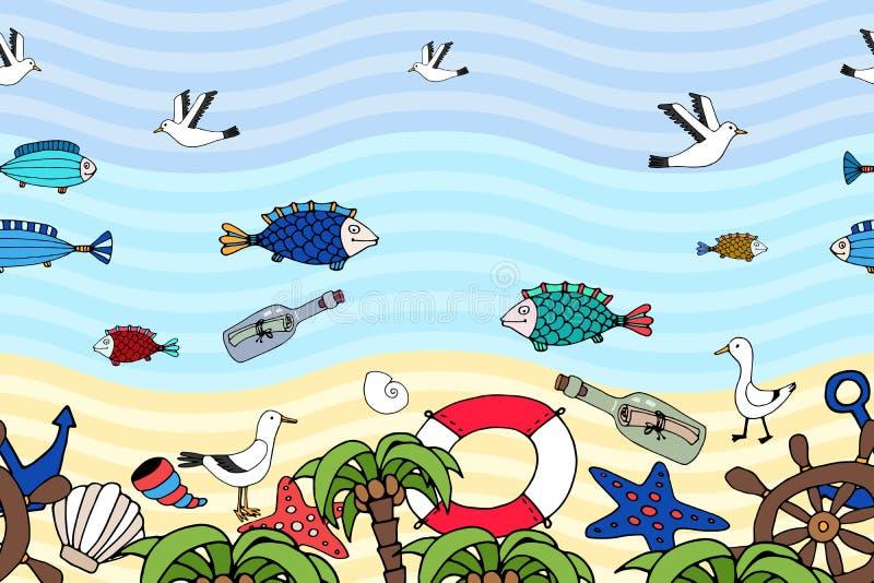 Horisontalsömlös modell av en tropisk strand royaltyfri illustrationer