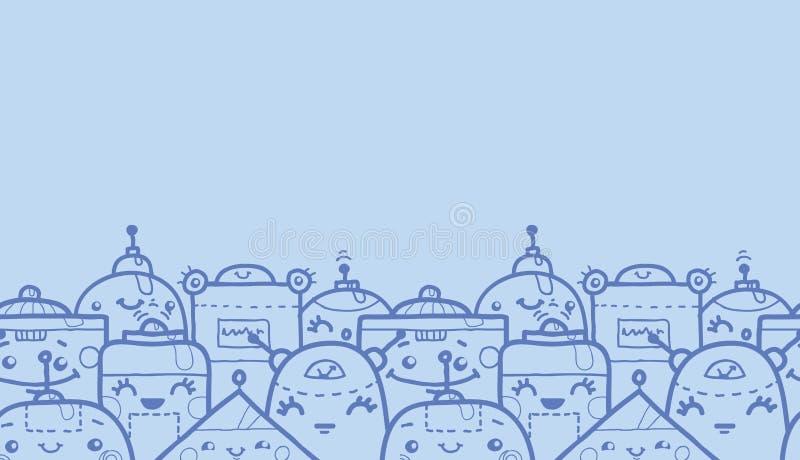 Horisontalsömlös modell för gulliga klotterrobotar stock illustrationer