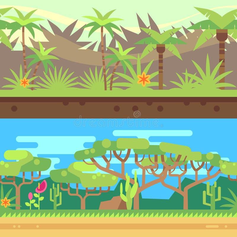 Horisontalsömlös tropisk skogdjungelbakgrund i tecknad filmlägenhetstil också vektor för coreldrawillustration stock illustrationer