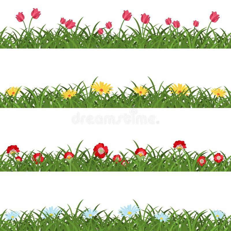 Horisontalsömlösa blom- gränser stock illustrationer