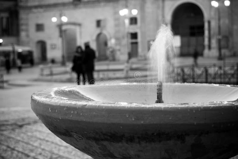 Horisontalsikt av lilla Funtain i Vittorio Veneto Square mattt royaltyfria foton
