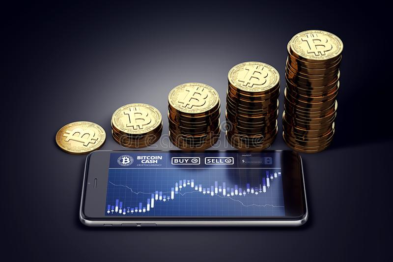 Horisontalsmartphone med Bitcoin den kontanta diagrampå-skärmen och växande högar av guld- Bitcoin kassamynt vektor illustrationer