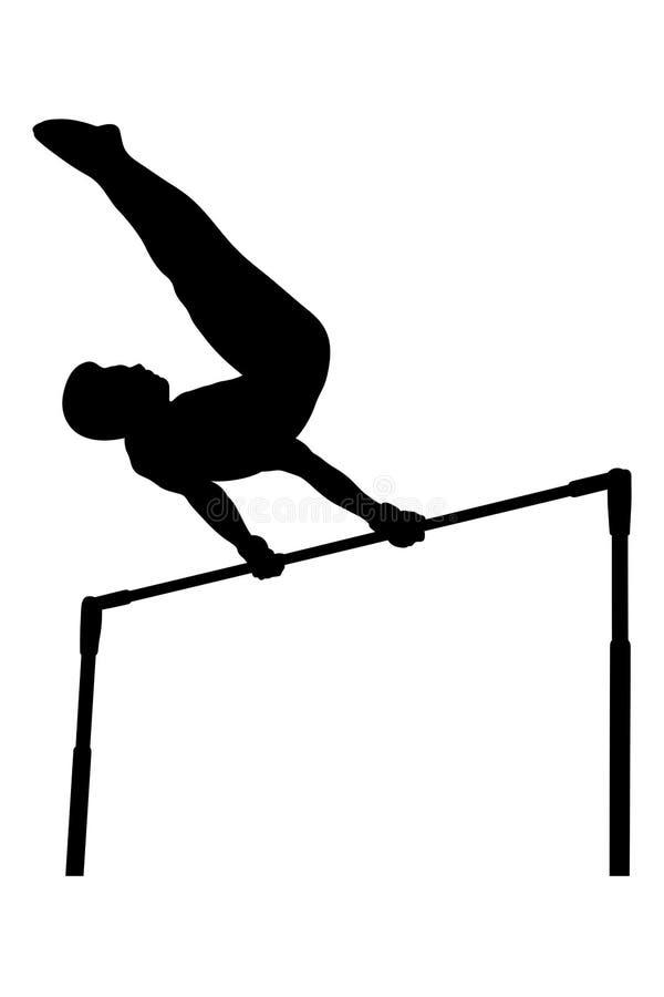 Horisontalstångmangymnast stock illustrationer