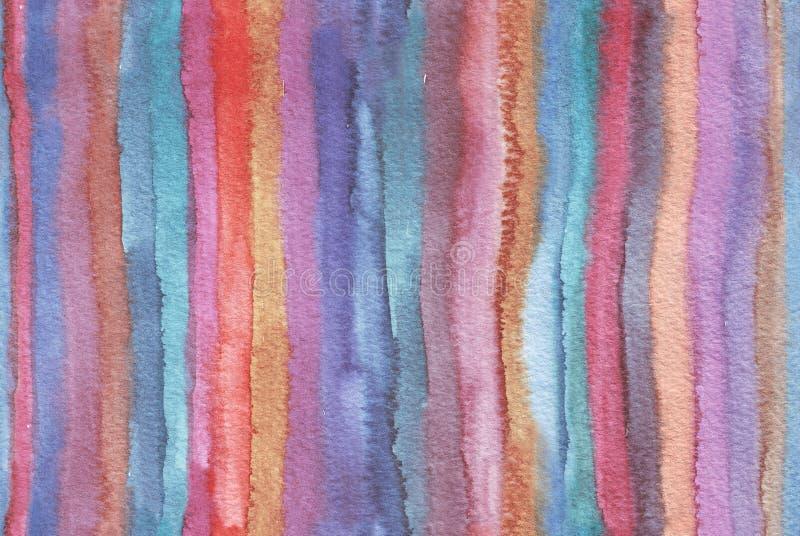 Horisontalstor illustration med vertikala band för vattenfärg i sömlös abstrakt bakgrund Livliga färger, kornig textur, hand stock illustrationer