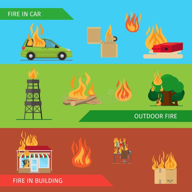 Horisontaltitelrader för brandrisk vektor illustrationer