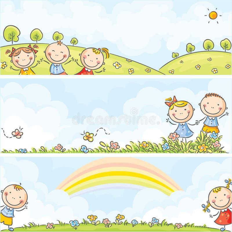 Horisontalungebaner stock illustrationer