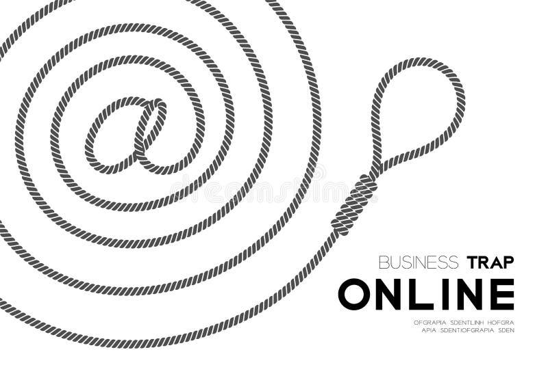 Horisontaluppsättning affärsfällaför online-design, på symbolet som göras från rep och lasso royaltyfri illustrationer