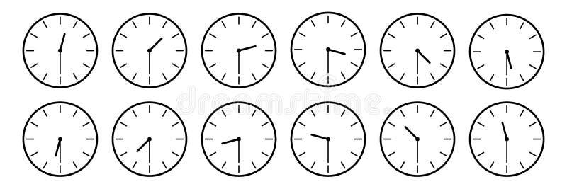 horisontaluppsättning av den parallella klockasymbolen som meddelar varje halva - - timmetid som isoleras på vitt, vektorillustra vektor illustrationer