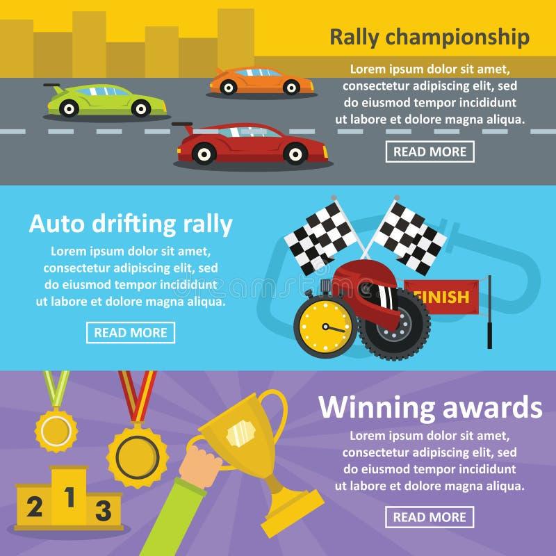 Horisontaluppsättning för tävlings- auto baner, lägenhetstil vektor illustrationer