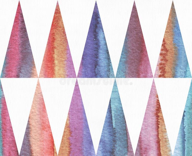 Horisontalvattenfärgtextur som baseras på den sömlösa bandmodellen och lång triangelbakgrund, vattenfärgpapper, hand som dras med stock illustrationer