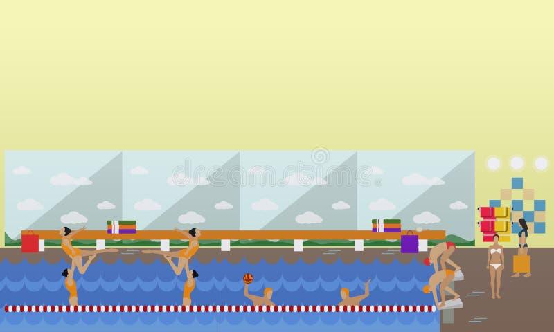 Horisontalvektorbaner med simbassänginre Begrepp för vattensport Folk som utbildar och övar Plan tecknad film stock illustrationer