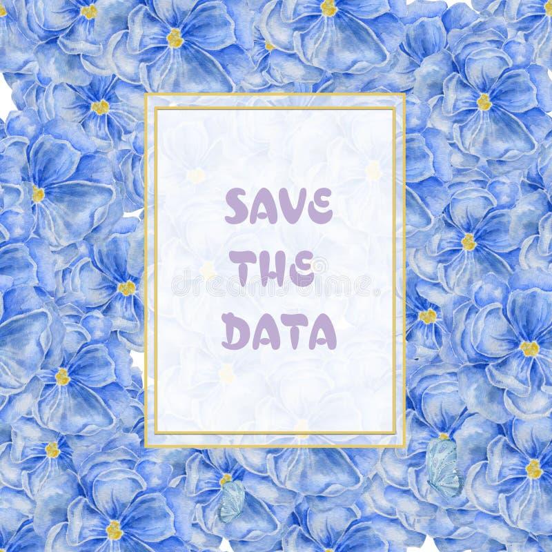 Horisontalvit guld- ram med på blå blommabakgrund Blom- design för vattenfärg för skönhetsmedel, doft, skönhet royaltyfri illustrationer