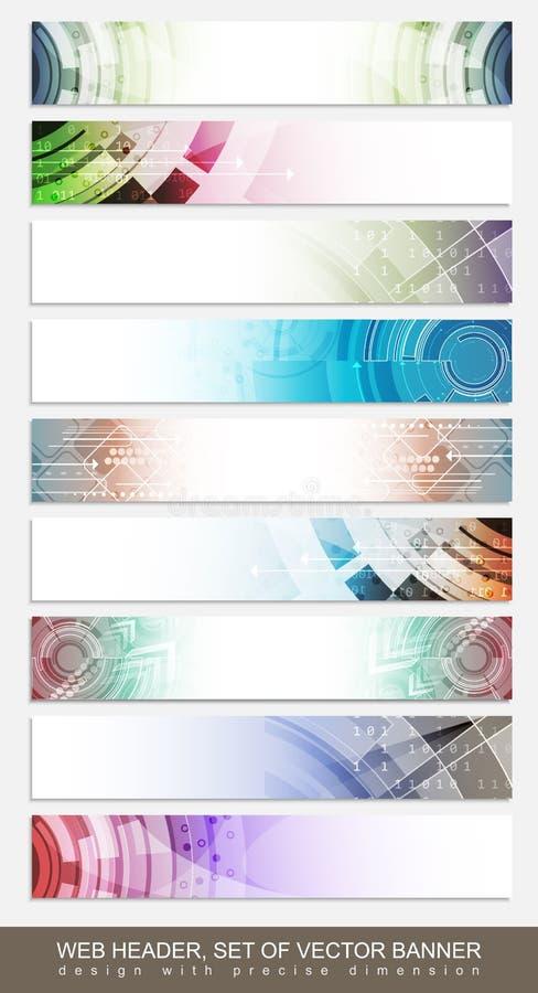 Horisontalwebsitetitelrad, baner eller footer med den färgrika abstrakta modellen - uppsättning royaltyfri illustrationer