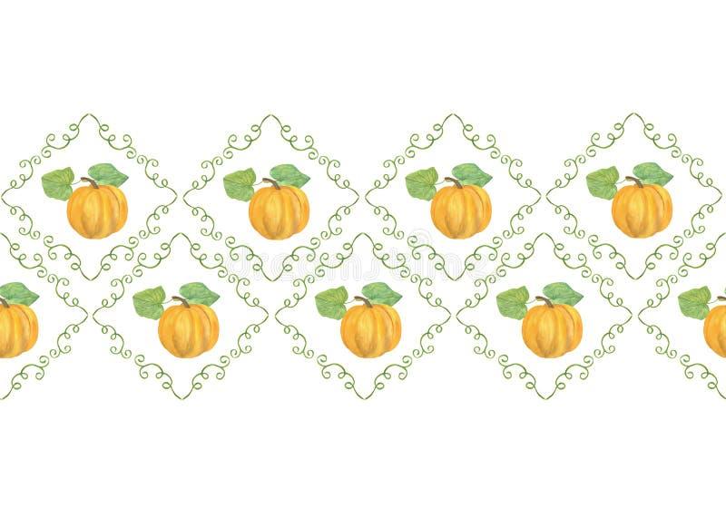 Horisontell gräns för en handdragen pumpbildruta i form av stöt, höstillustration med vattenfärg, höstsymbolen med floral färg på royaltyfri illustrationer