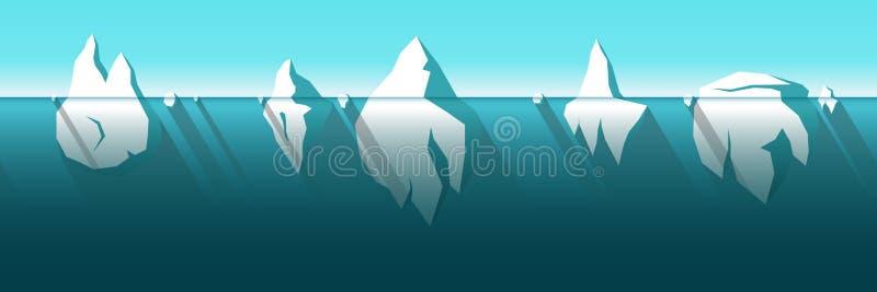 Horisontellt sömlöst isberg stock illustrationer
