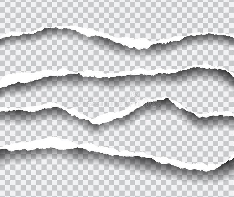 Horisontellt sönderrivna kanter av papper, isolerad vektor på en transpare vektor illustrationer