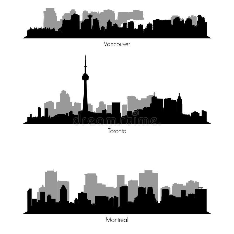 Horisonter för städer för ef vektor för samling kanadensiska stock illustrationer