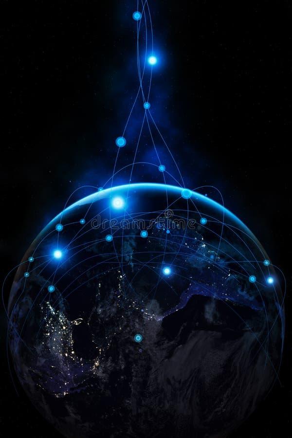 horisontlinjen för jord 3d framförde avstånd globala internet för affärsidé royaltyfria foton