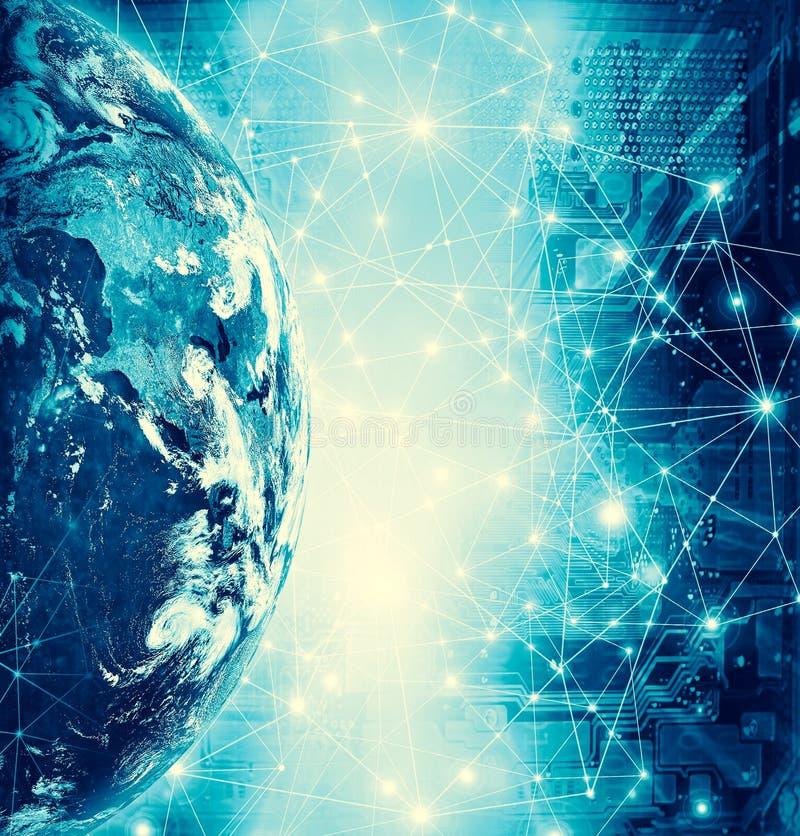 horisontlinjen för jord 3d framförde avstånd serie för internet för hand för bäst jordklot för affärsidébegrepp globalt glödande  vektor illustrationer