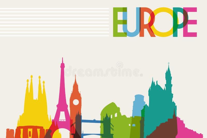 Horisontmonumentkontur av Europa royaltyfri illustrationer