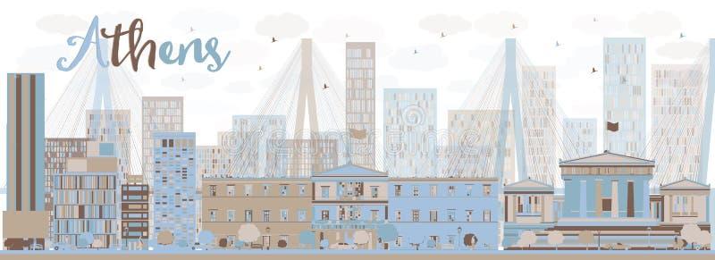 Horizon abstrait d'Athènes avec des bâtiments de couleur illustration stock