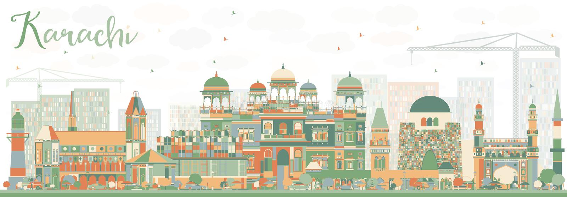 Horizon abstrait de Karachi avec des points de repère de couleur illustration stock